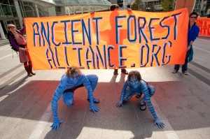 Ancient Forest Alliance supporters dressed up as Na'vi characters from the movie Avatar and rallied in Vancouver, BC for the protection of the province's endangered old-growth forests.