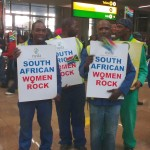 Supporters at the airport. Photo: Marion Stevens